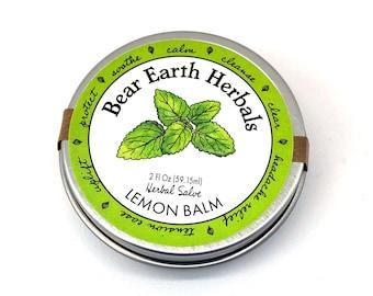 Lemon Balm Salve- Mood Elevating Healing Herbal Salve Ointment - Organic - Lip Balm - Headache Salve - Stress Relief - Skin Healing