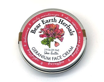 Geranium Face Cream, Organic Shea Butter Cream with Organic Geranium Essential Oil and cold infused Organic and Wild Herbs, Moisturizer