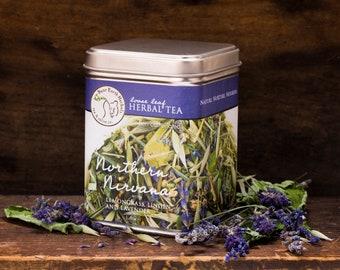 Northern Nirvana nerve calming Herbal Tea, nervine, organic non-caffeinated tea with Anise Hyssop, Lemongrass, Milky Oats, Lavender & Linden