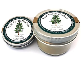 Herbal Chest Rub - Peppermint Eucalyptus - Herbal Salve Ointment Vapor Rub - Warming Soothing- Wild Harvested Mullein and Red Clover infused