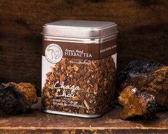 Chaga Chai Tea - non-caffeinated loose leaf herbal tea - wild harvested Chaga Mushroom, Roasted Chicory Root, Cinnamon, Cardamom & Cayenne
