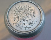 french antique silver ton metal box engraved flower initial letter F B hand engraved round box