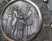 Rare 19th century French antique sterling silver filigree Reliquary ornate pendant religious reliquary solid silver chain