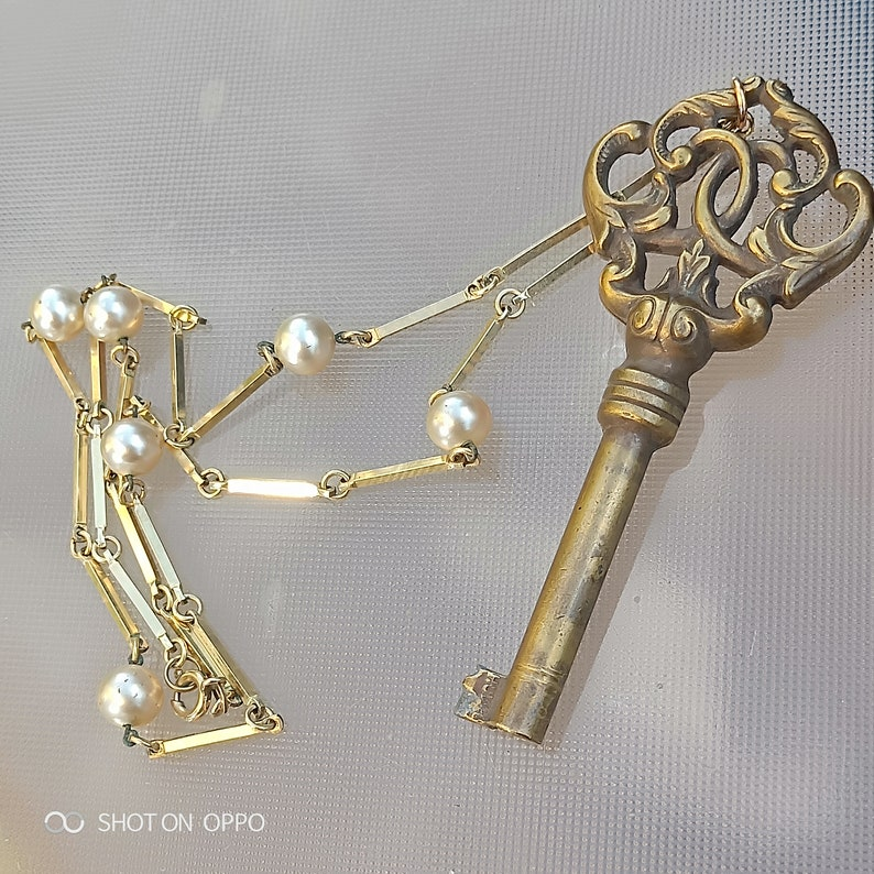 French antique  18th century ornate key solid bronze key pendant with pearl gold  pendant necklace