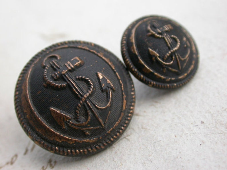 Lot Of 4 Antique French Military Button Dark Silver Navy Army Clothes Button Anchor Wings Solid Bronze Signed France Paris