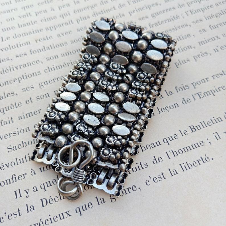 vintage huge  ethnic jewelry large ethnic bracelet hand made sterling silver clasp  vintage metal large bracelet