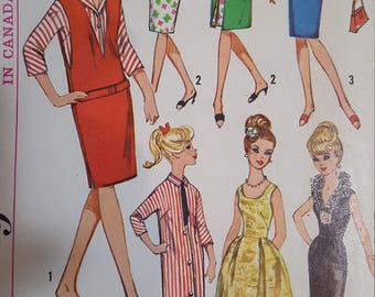 Vintage Doll Pattern Simplicity 5673 Barbie Sized Doll, 1964