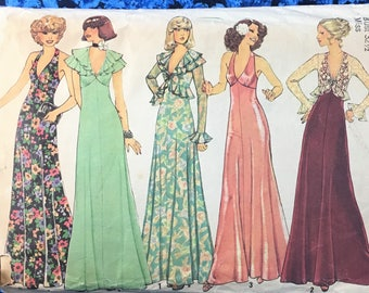 Simplicity 7229 | Vintage Sewing Pattern | 70s Halter Dress with Ruffles and Jacket