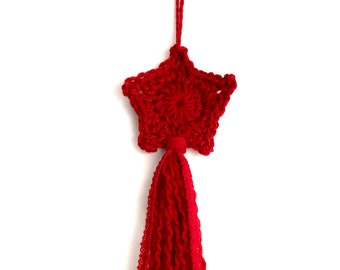 Christmas Red Rustic Shooting Star Crochet Wall Hanging