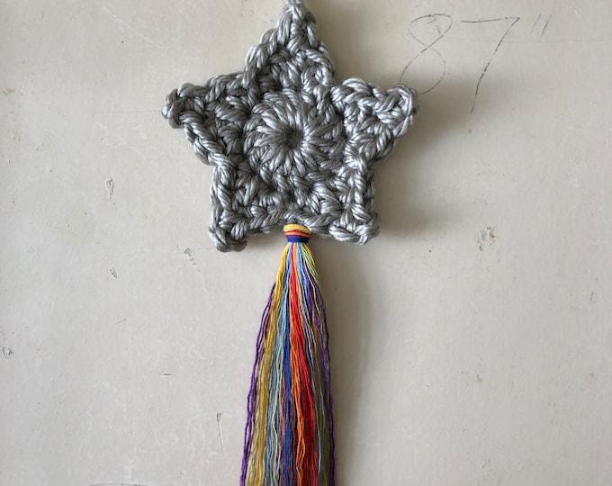 Rainbow Shooting Star Silver Crochet Wall Hanging