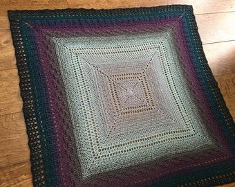 Intricate Crochet Square Unisex Baby / Toddler Blanket - Silver Purple Blue - Unique Baby Shower / Birthday / Christmas Gift