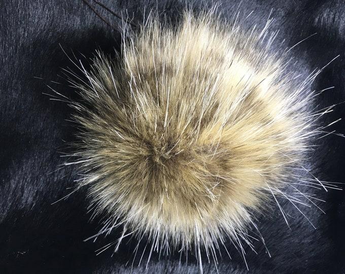 Cheetah Faux Fur Pom Pom - Beige & Brown Flecked
