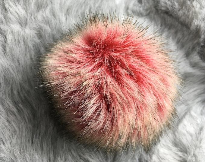 Cinder Red Faux Fur Pom Pom - Beige & Brown Flecked