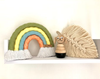 Forest Friends Chunky Macrame Rainbow Wall Hanging, Rope Wrapped Fibre Art