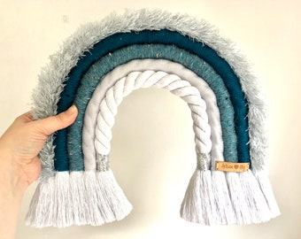 XL Furry Teal Macrame Rainbow Wall Hanging, Large Unique Rope Wrapped Rainbow