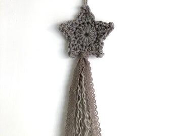 Grey Rustic Shooting Star Crochet Wall Hanging