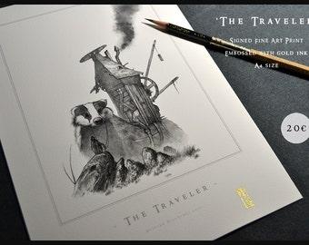 The Traveler - A4 size edition - Embossed Fine Art Print - Fantasy Art