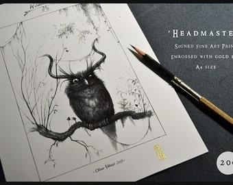 Horned Owl print - A4 Fine Art Print - Signed and embossed - Fantasy Art