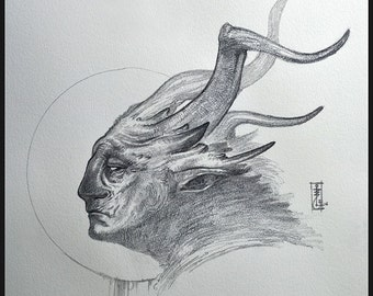 Faun - Original drawing - Fantasy Art