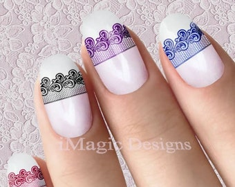 Lace nail decals | Etsy