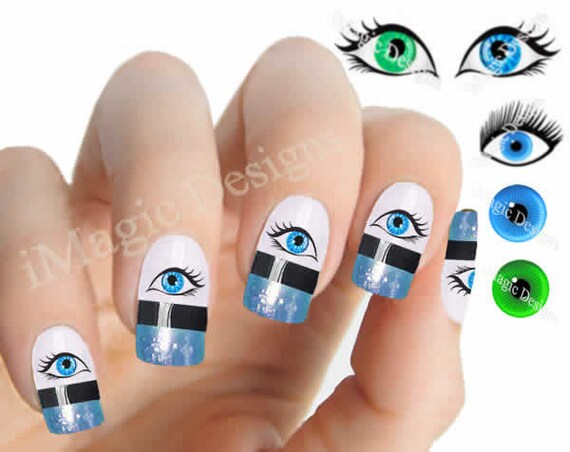 Nail Decals Water Slide Nail Art Tattoo Stickers Evil Eye Etsy