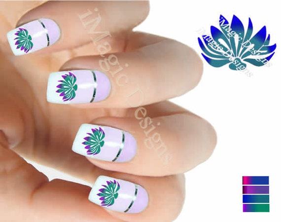 Water Slide Nail Art Decals Nail Floral Stickers Lotus Etsy