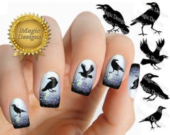 Halloween Nail Stickers, Waterslide Nail Decals, Raven, Nail Tattoos