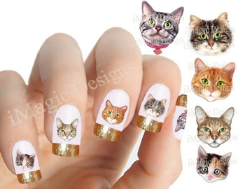 Cat Nail Stickers, Water Slide Nail Decals, Nail Tattoos, Cat Lover