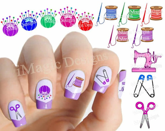 Sewing Nail Art Decals Water Slide Easy Nail Transfer Etsy