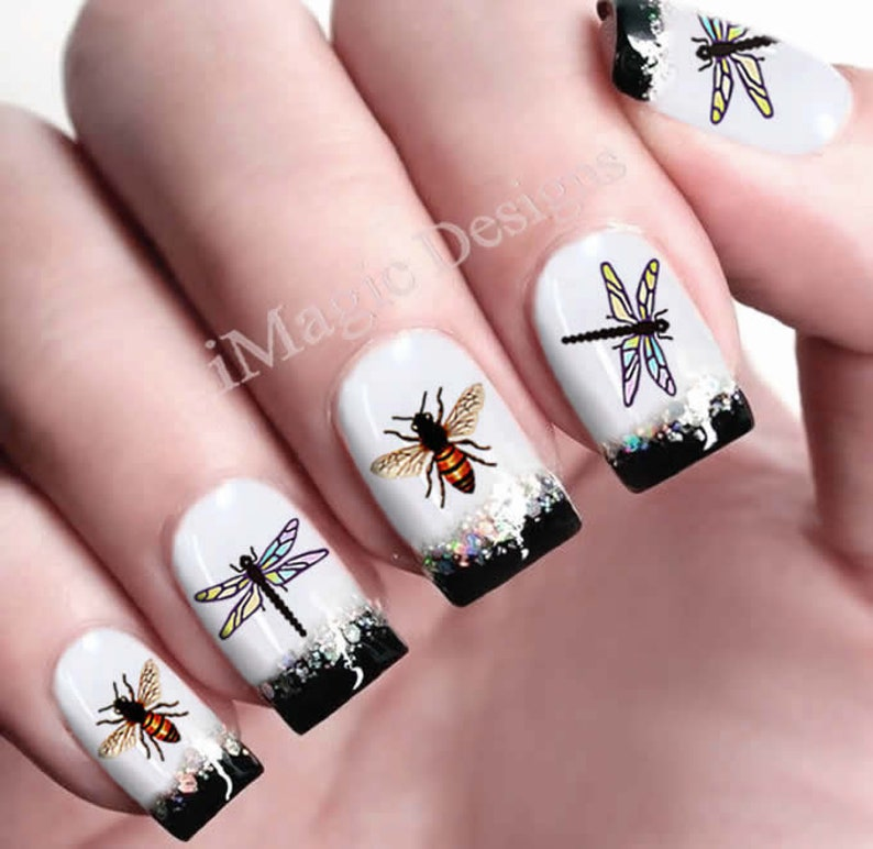Waterslide Nail Decals Nail Art Transfer Stickers Dragonfly Etsy