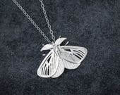 MADE TO ORDER Satin Moth Pendant- Delicate Insect-Inspired Necklace in Brass, Bronze, or Silver