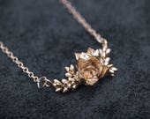 READY TO SHIP Botanical Cluster Pendant- Lavender and Succulent Jewelry in Bronze