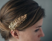 MADE TO ORDER Sword Fern Hair Comb- Botanical Hair Accessory in Polished Brass, Bronze, or Silver