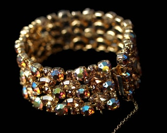 Sherman bracelet five rows ab rhinestones and topaz navettes circa 1950 signed * Free shipping