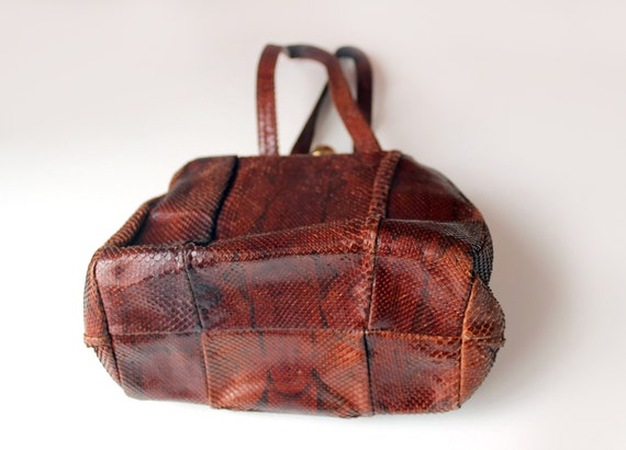 1940s Art deco Python snake skin leather purse El… - image 9