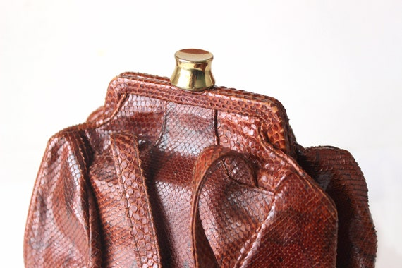 1940s Art deco Python snake skin leather purse El… - image 8
