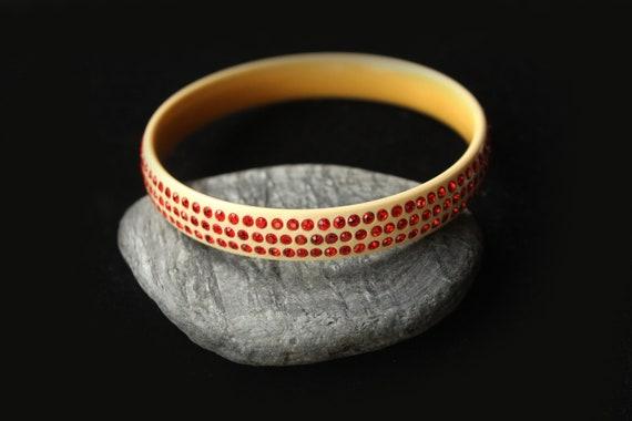 1930s Art deco celluloid bracelet bangle red rhine