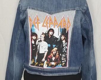 d68b7262cd Def Leppard women s upcycled denim jacket