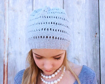 Downloadable Hat Pattern Slouchy Knit Beanie Pattern Ribbed  a64d9f13bfb
