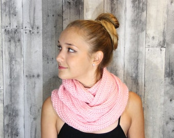 Pink Infinity Scarf, Knit Scarf, Pink Scarf, Knit Cowl, Circle Scarf, Women's Scarves, Winter Scarf, Fall Scarf