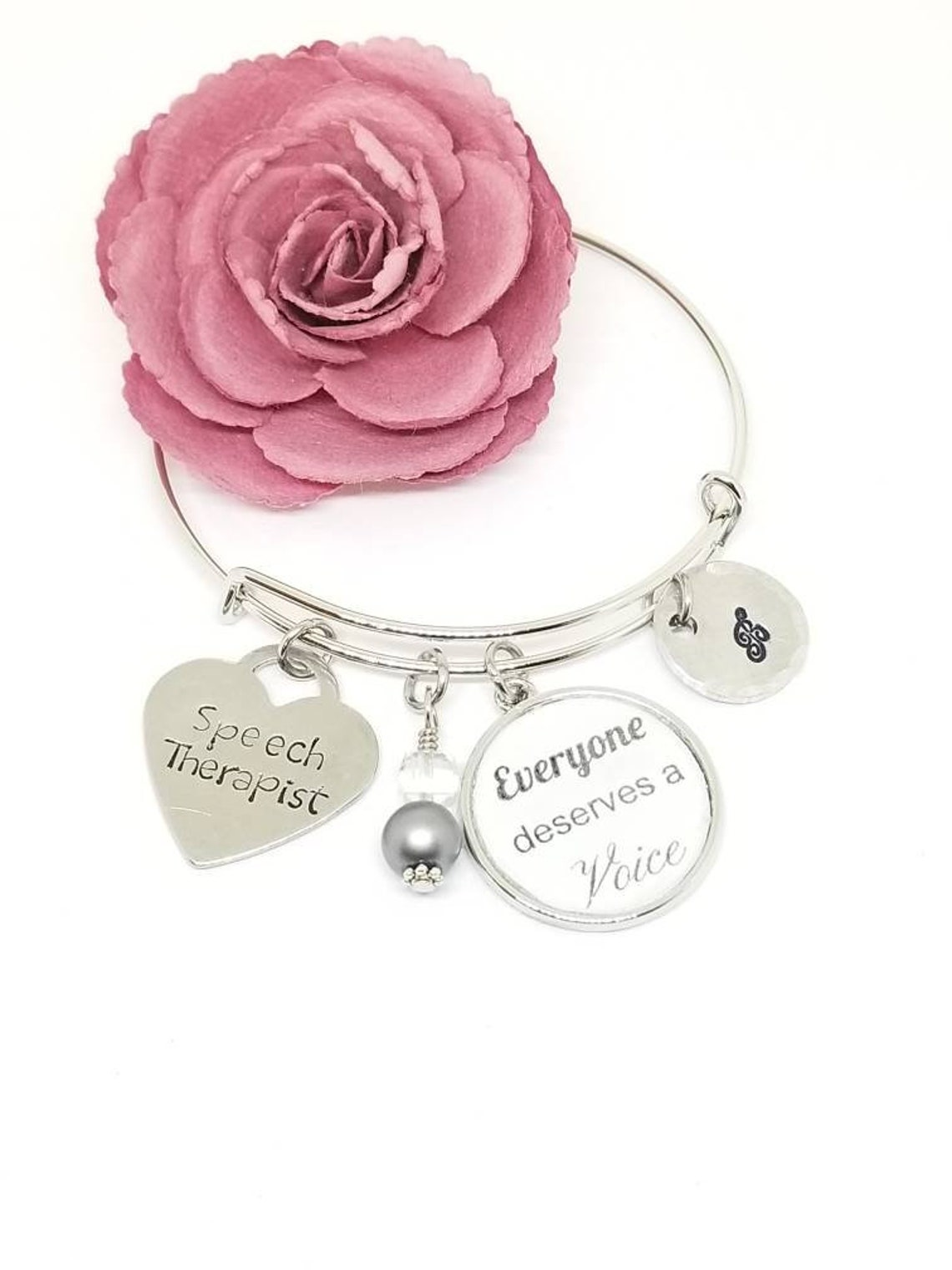 metal bracelet with stamped tags