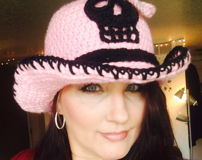 Skull Cowboy Hat-Womens SunHat-Skull hat-Bows-Women's accessories -Pink snd Black Hat-Crocheted Hats-Fashion  Accessories