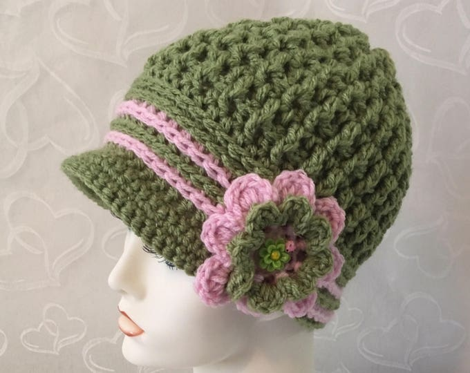 Crocheted Newsboy Caps-Womens Cloche Hats-Flapper Hats-Green and Pink-Crocheted Flower-Easter Hats