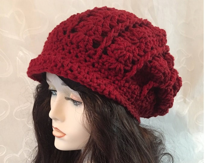 Slouchy Crocheted Hat-Newsboy Hats-Newsboy Cap-Womens Hats-Red Hats-caps-Hippies -