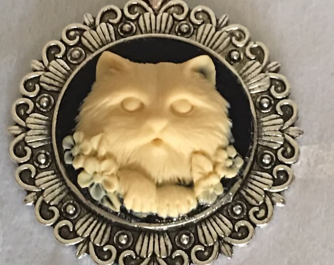 Cat Cameo Necklace -Cabachon pendant-Silver Necklace -Ivory Cameo-Kitty Necklace -