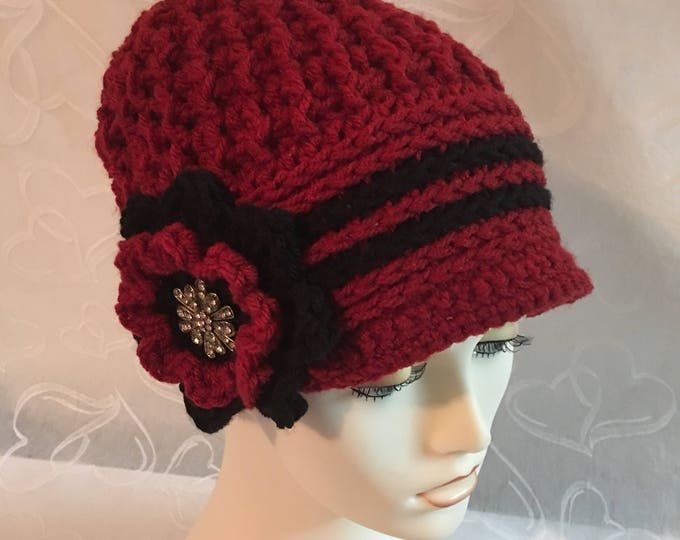 Crocheted Newsboy Caps-Cloche Hats-Womens Hats-Black and Red-Vintage Hats-1920's.