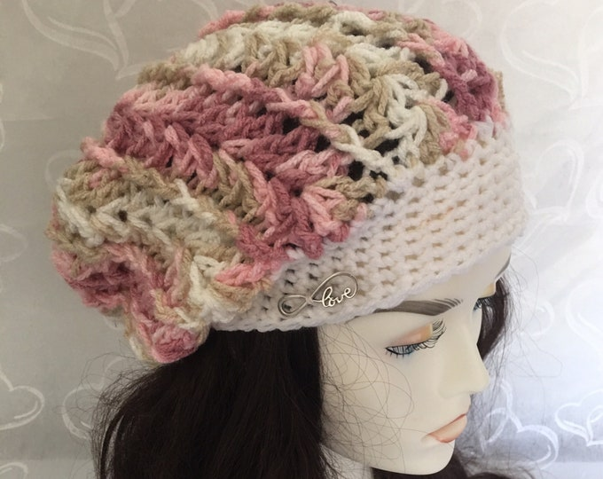 Slouchy Hat-Womens Crocheted Hat-Newsboy Hats-winter Hats-Accessories -Warm Hats-Pink and White Hat-Fall Hats
