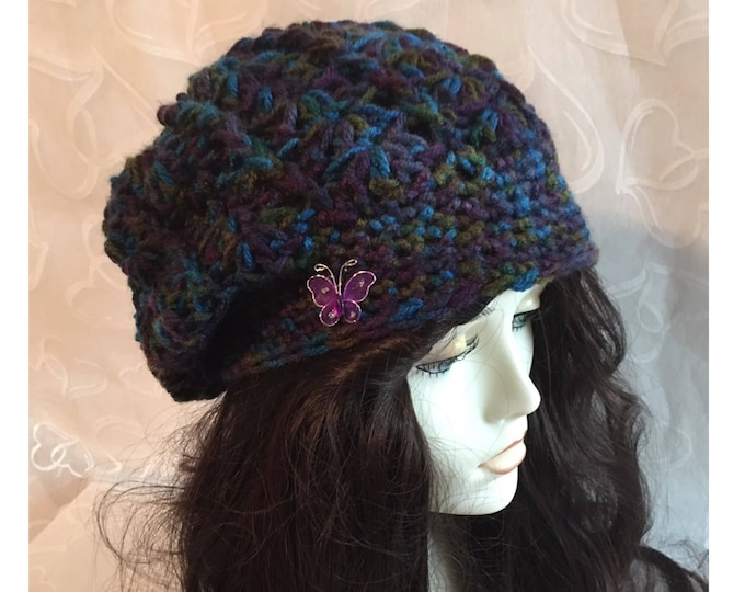 Crocheted Slouchy Hat-Newsboy Hat-Newsboy Caps-Women Accessories -Butterfly -
