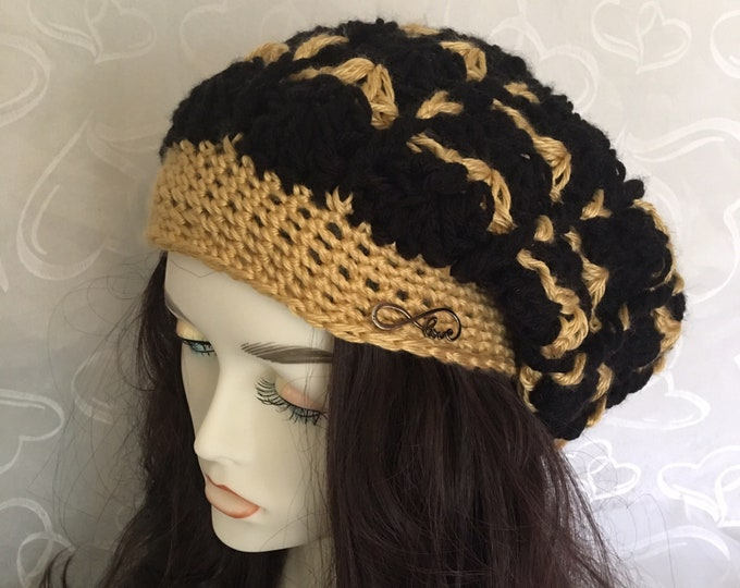 Slouchy Hat-Gold and Black-Women's Hats-Mens Hats-Crocheted Hat-Newsboy Cap-winter Hat-Warm Hats