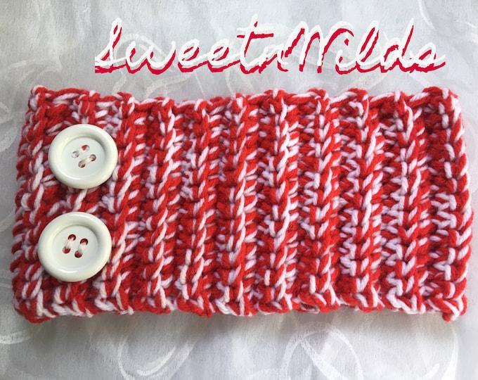 Chunky Red and White Headband -Earwarmers-Christmas Hairbands-READY TO SHIP -Fall hats-Winter wear